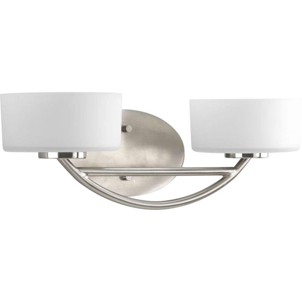Progress lighting calven collection brushed nickel 2 light for Brushed nickel lighting for bathroom