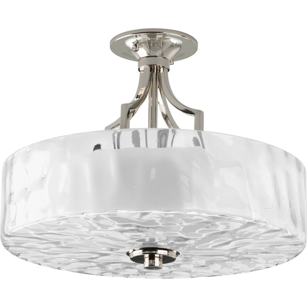 Caress Collection Polished Nickel 2-light Semi-flushmount