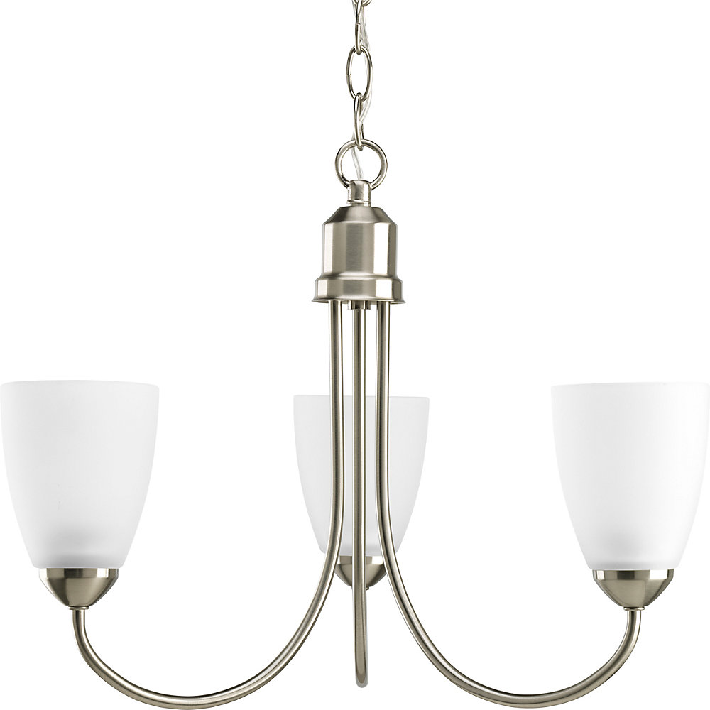 Gather Collection Brushed Nickel 3-light Chandelier