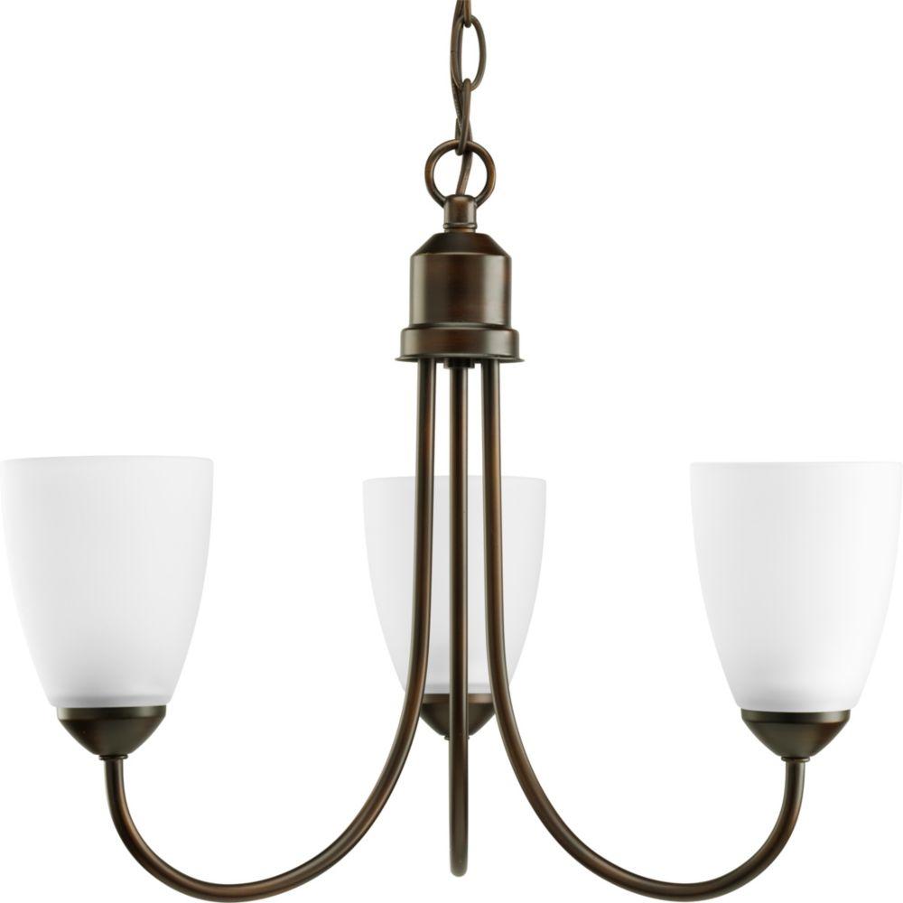 Fluorescente de Lustre à 3 Lumières, Collection Gather - fini Bronze à l'Ancienne
