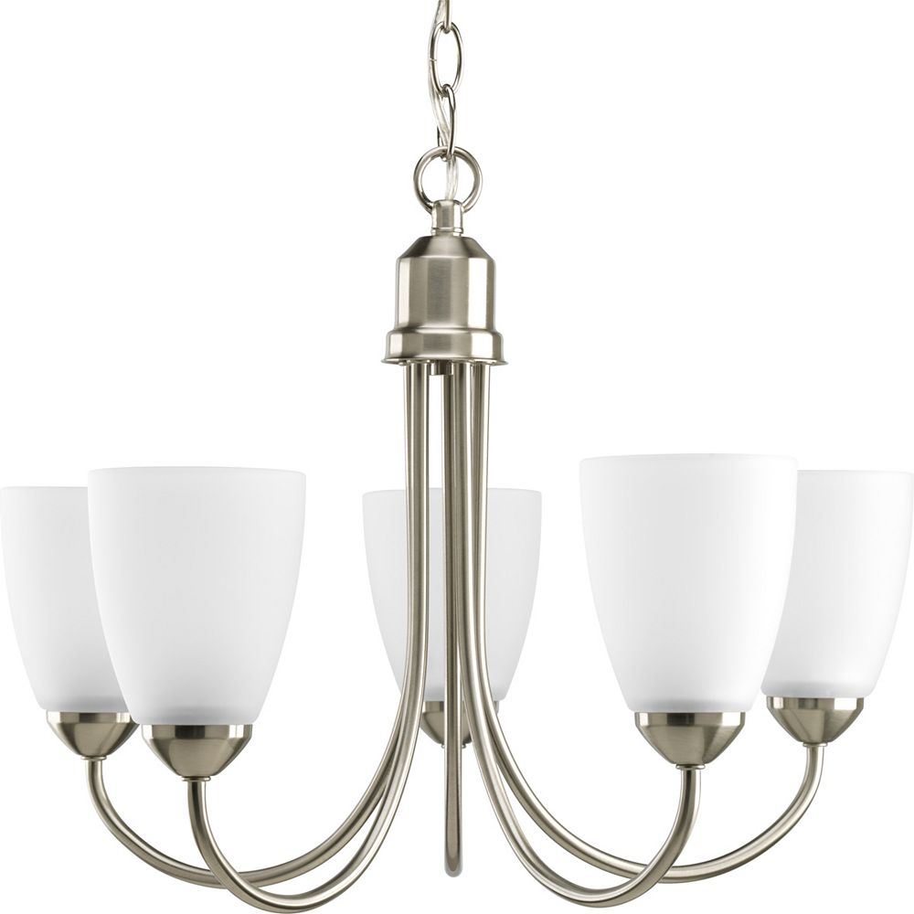Progress Lighting Gather Collection 20 1/2-inch x 15-inch 5-Light Chandelier in Brushed Nickel