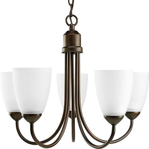 Fluorescente de Lustre à 5 Lumières, Collection Gather - fini Bronze à l'Ancienne