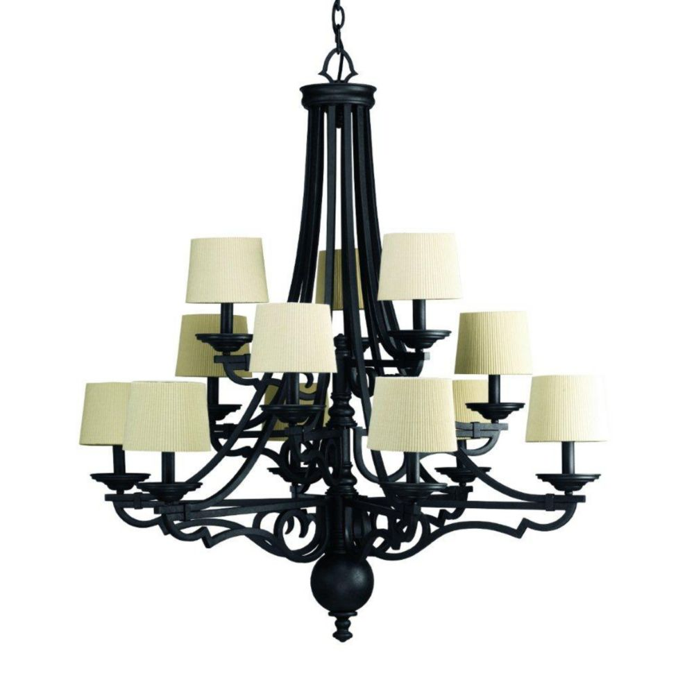 Meeting Street Collection 12-light Forged Black Chandelier