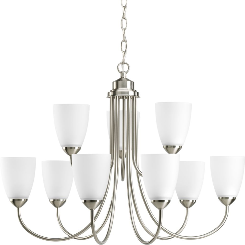 Gather Collection Brushed Nickel 9-light Chandelier