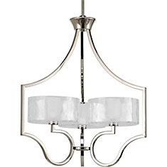 progress lighting calven collection. caress collection polished nickel 3-light chandelier progress lighting calven l