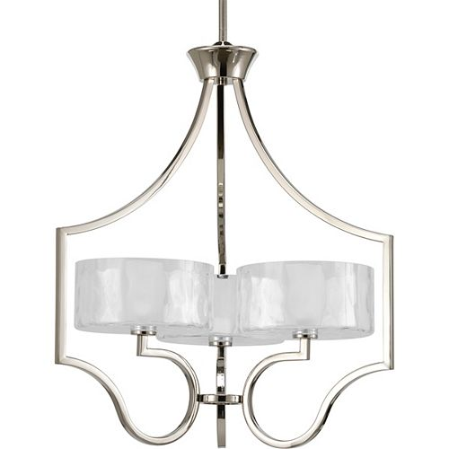 Progress Lighting Caress Collection Polished Nickel 3-light Chandelier