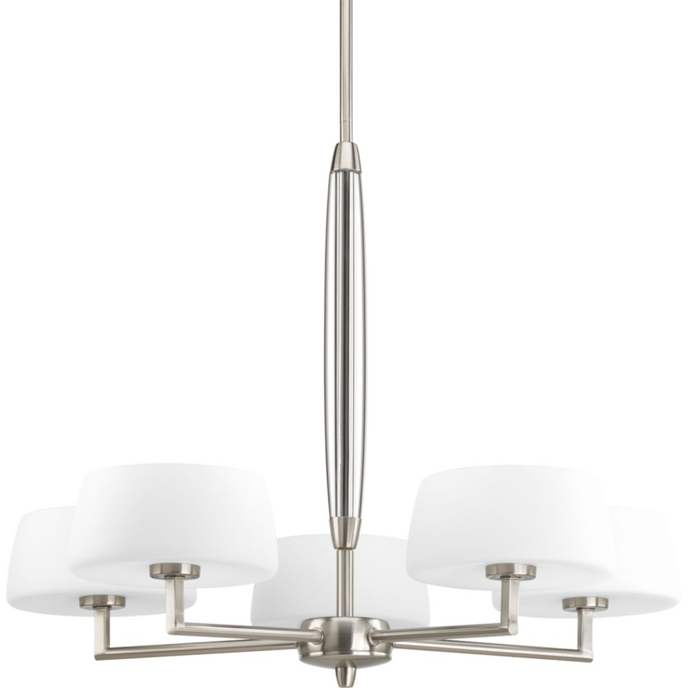 Divot Collection Brushed Nickel 5-light Chandelier