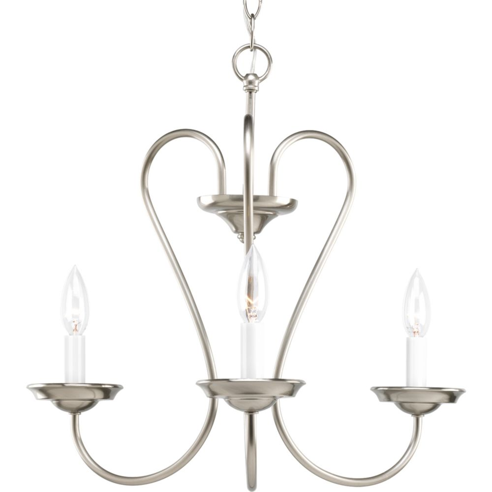 Heart Collection Brushed Nickel 3-light Chandelier