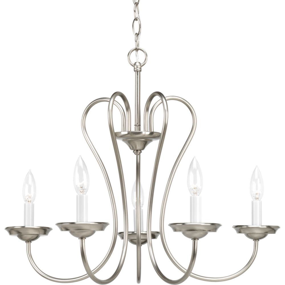 Heart Collection Brushed Nickel 5-light Chandelier