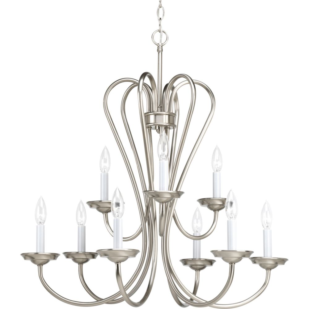 Heart Collection Brushed Nickel 9-light Chandelier