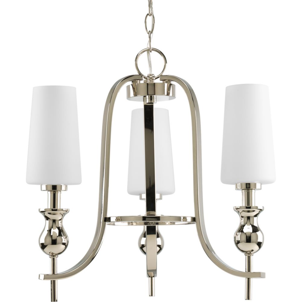 LadyLuck Collection Polished Nickel 3-light Chandelier