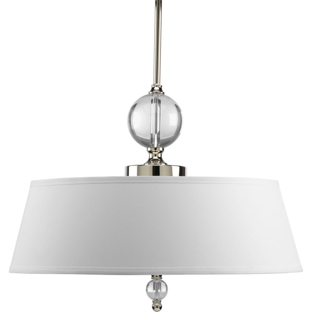 Fortune Collection Polished Nickel 3-light Pendant