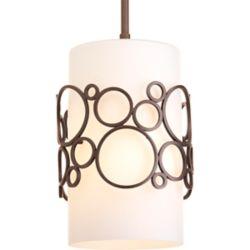 Progress Lighting Mini suspension à 1 Lumière, Collection Bingo - fini Bronze Venitiem