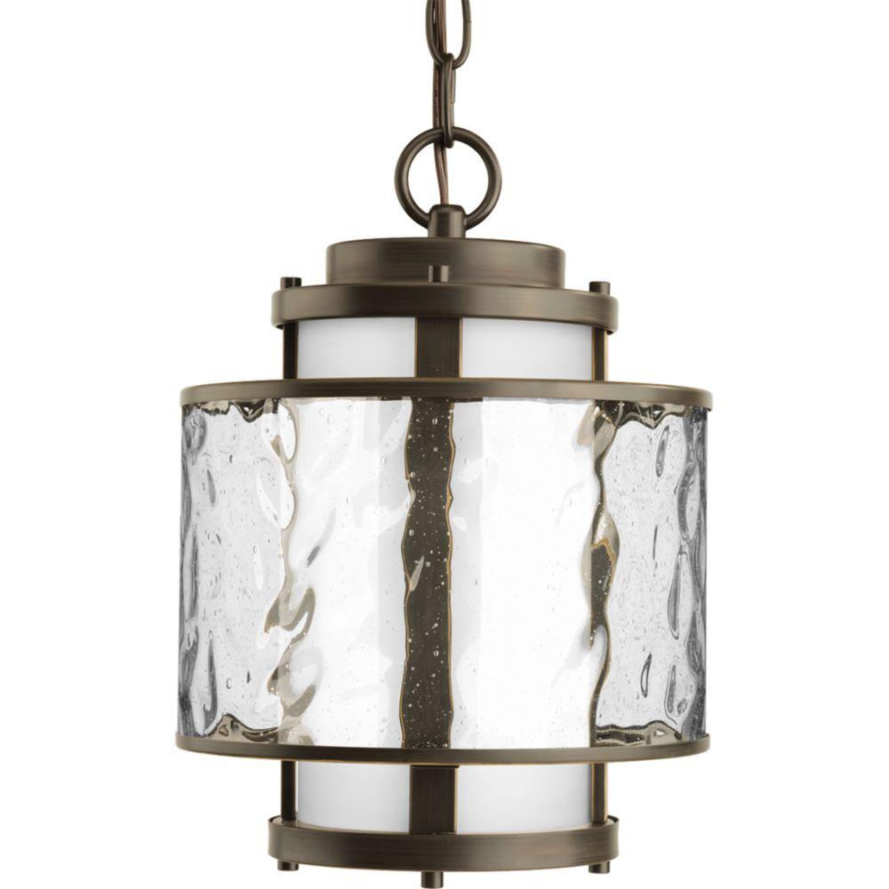 Lanterne suspendue à 1 Lumière, Collection Bay Court - fini Bronze à l'Ancienne