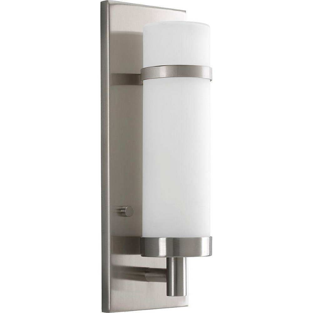 Brushed Nickel 26W 1-Light Wall Sconce with Opal Etched Glass