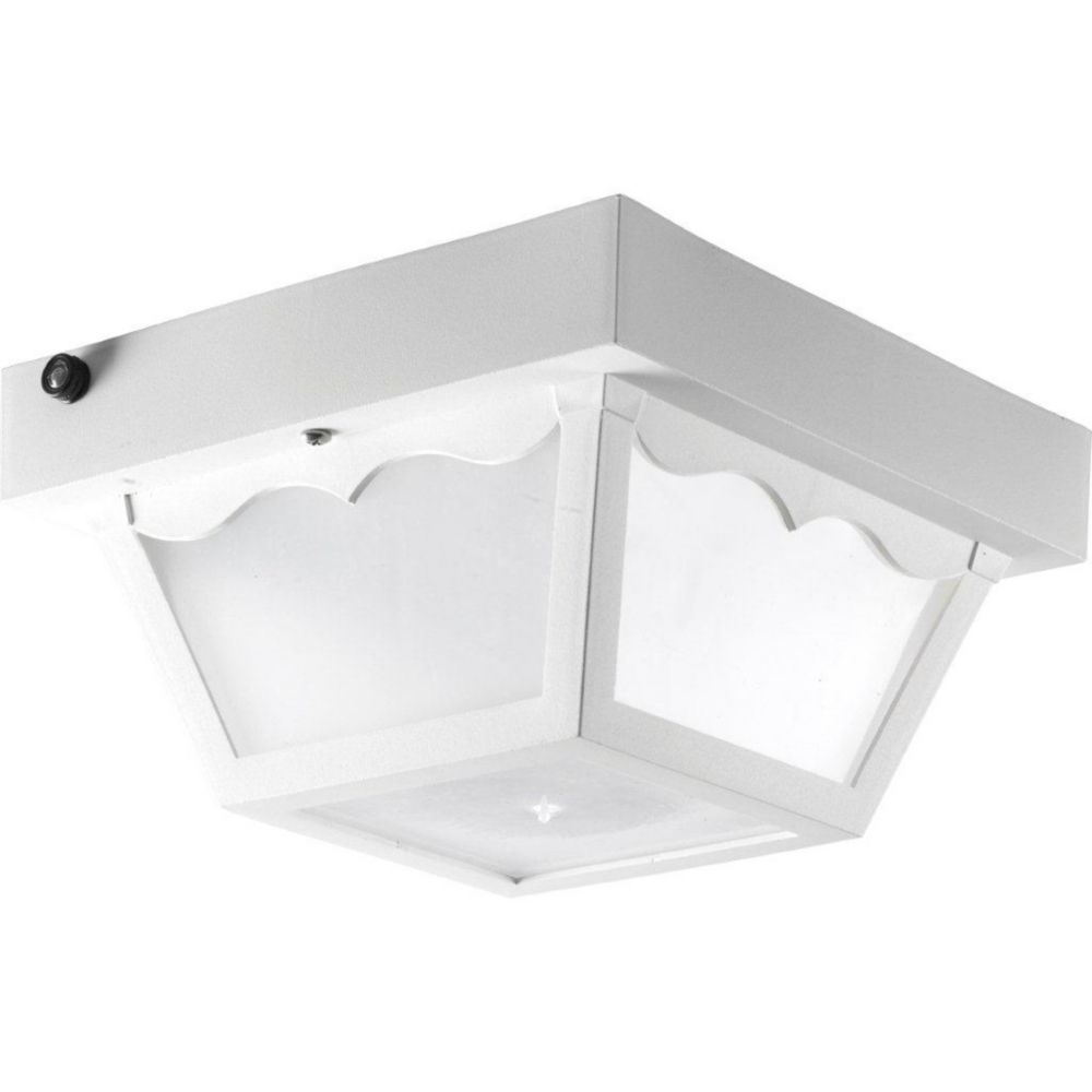 Polycarbonate Collection 1-light White Outdoor Flushmount