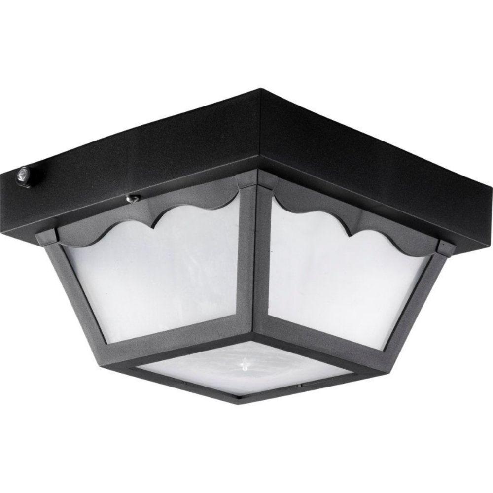 Fluorescente de Plafonnier extérieur à 1 Lumière, Collection Polycarbonate - fini Noir