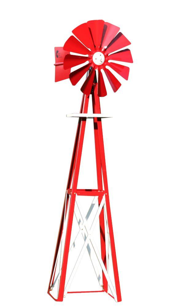 Red and White Powder Coated Backyard Windmill - Small