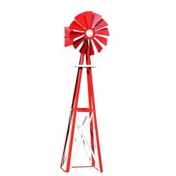 Outdoor Water Solutions Red and White Powder Coated Backyard Windmill - Small