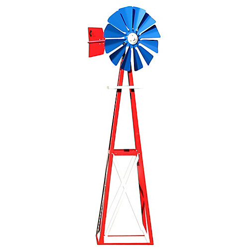 Red, White and Blue Powder Coated Backyard Windmill - Small