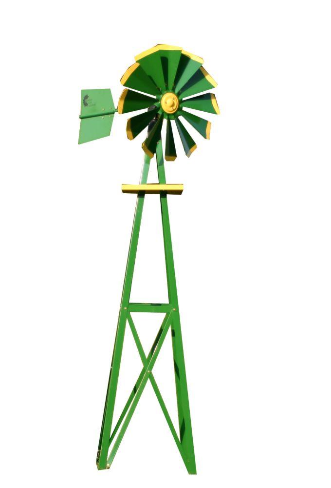Eolienne décorative recouverte en poudre verte et jaune - petite