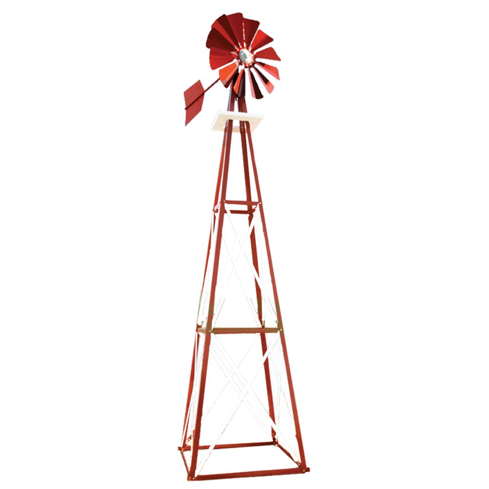 Red and White Powder Coated Backyard Windmill - Large