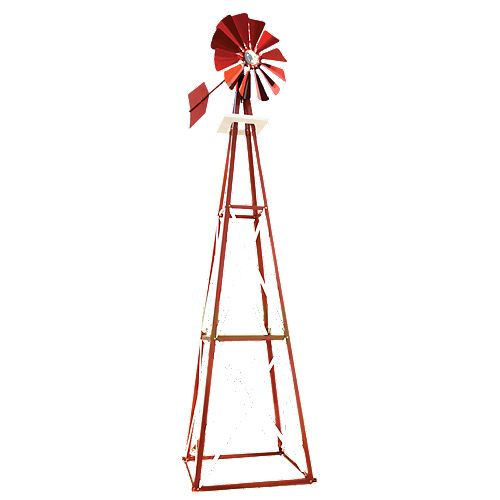 Outdoor Water Solutions Red and White Powder Coated Backyard Windmill - Large