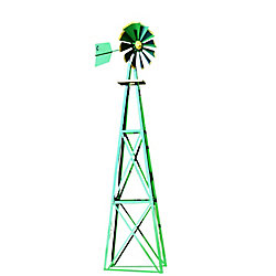 Outdoor Water Solutions Green and Yellow Powder Coated Backyard Windmill - Large