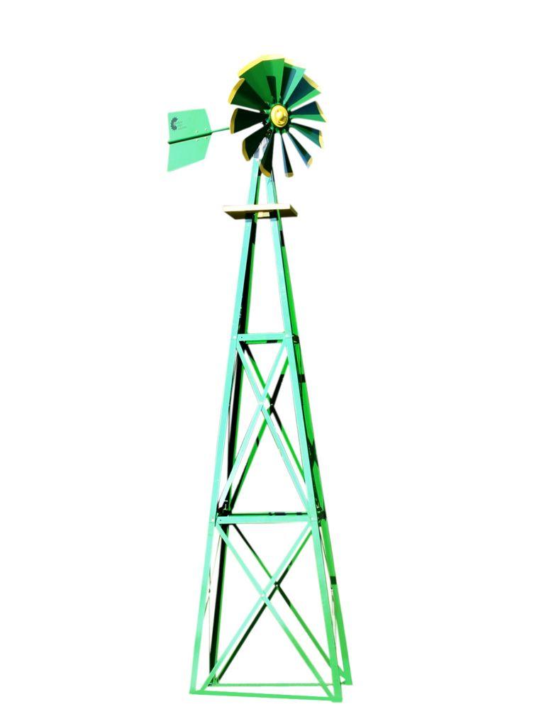 Eolienne décorative recouverte en poudre verte et jaune - grande