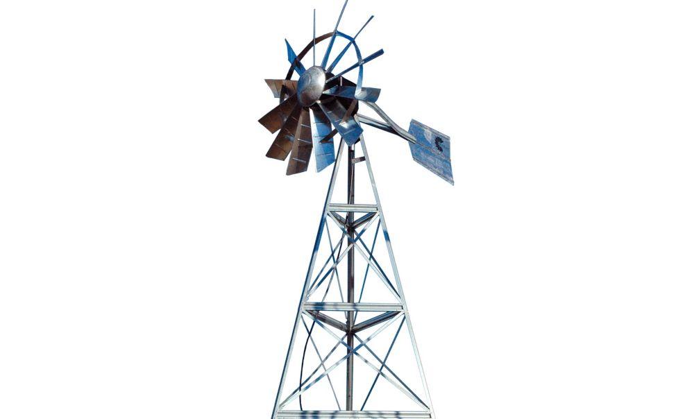 Galvanized Ornamental 3-Legged Windmill - 12 Foot