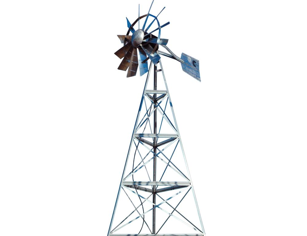 Galvanized Ornamental 3-Legged Windmill - 16 Foot