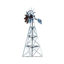 Outdoor Water Solutions Galvanized Ornamental 3-Legged Windmill - 16 Foot