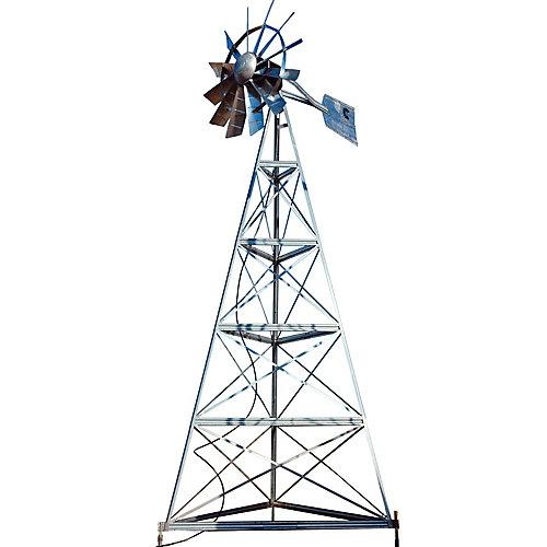Galvanized Ornamental 3-Legged Windmill - 20 Foot