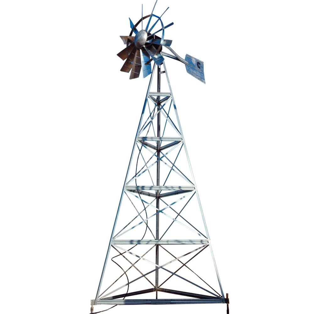 Galvanized Ornamental 3-Legged Windmill - 20 Foot