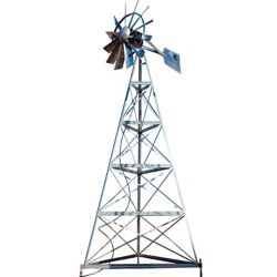 Outdoor Water Solutions Galvanized Ornamental 3-Legged Windmill - 20 Foot