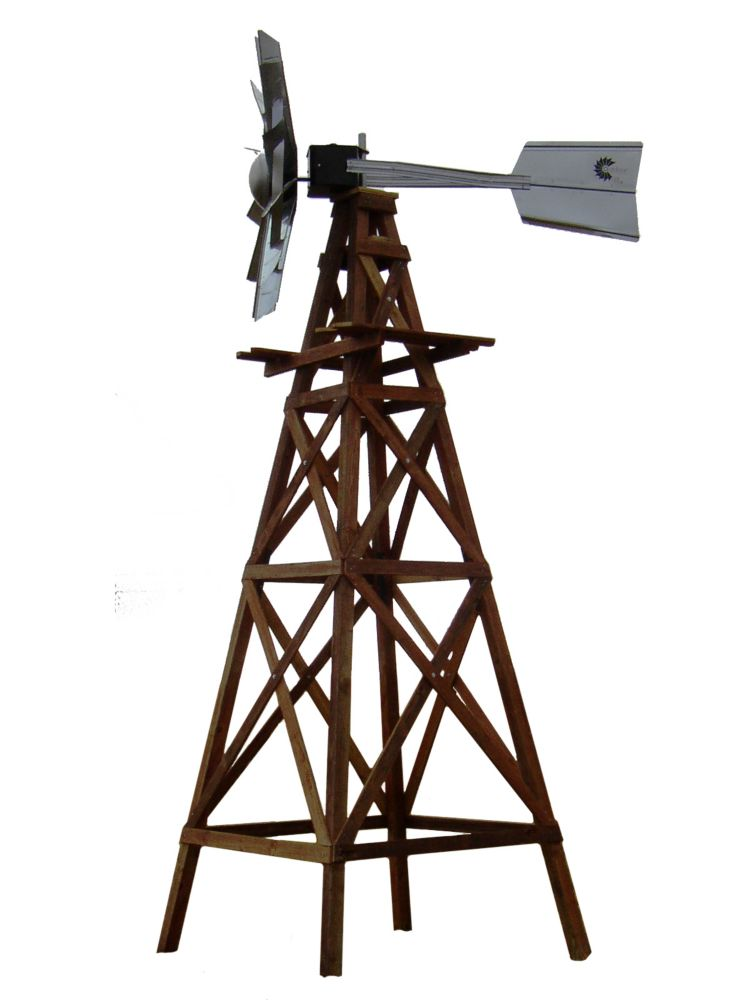 Outdoor Water Solutions Wood Windmill Kit Galvanized Functional Head With Wood Plans And