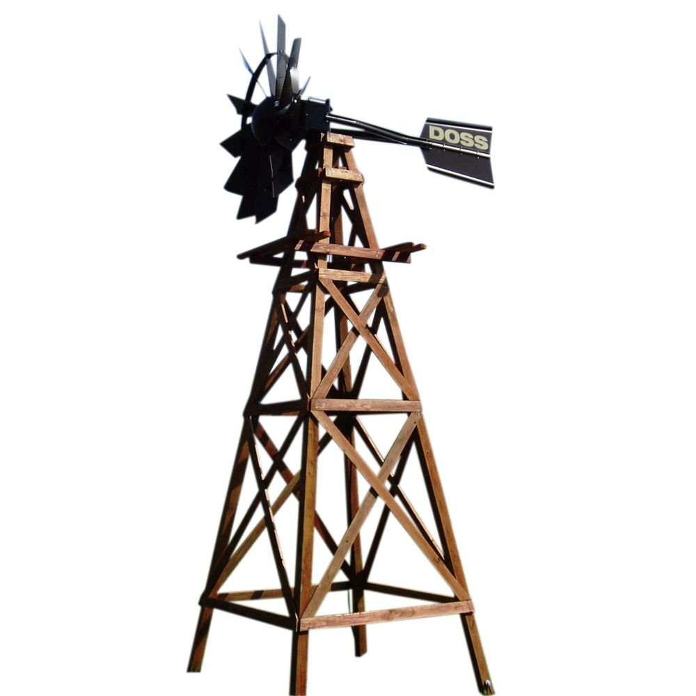 Wooden 4 Legged Windmill Aeration System with Powder Coated Head - 16 Foot