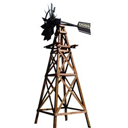 Outdoor Water Solutions Wooden Deluxe 4 Legged Windmill Aeration System Kit with Powder Coated Head - 16 Foot