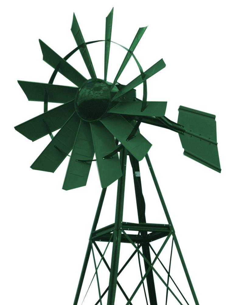 Eolienne recouverte en poudre verte forêt � 20 pieds