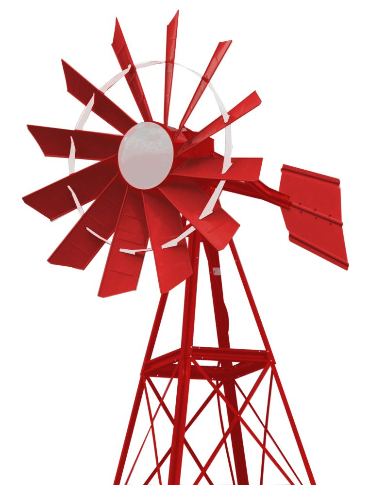 Red & White Powder Coated Windmill - 20 Foot