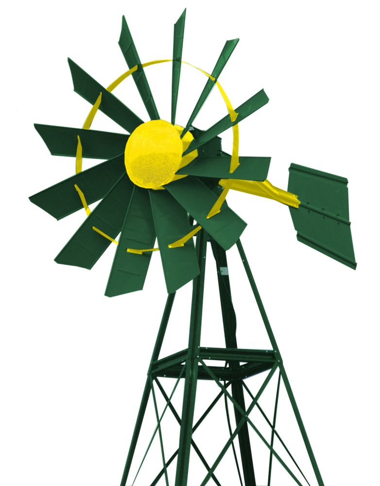 Green & Yellow Powder Coated Windmill - 20 Foot