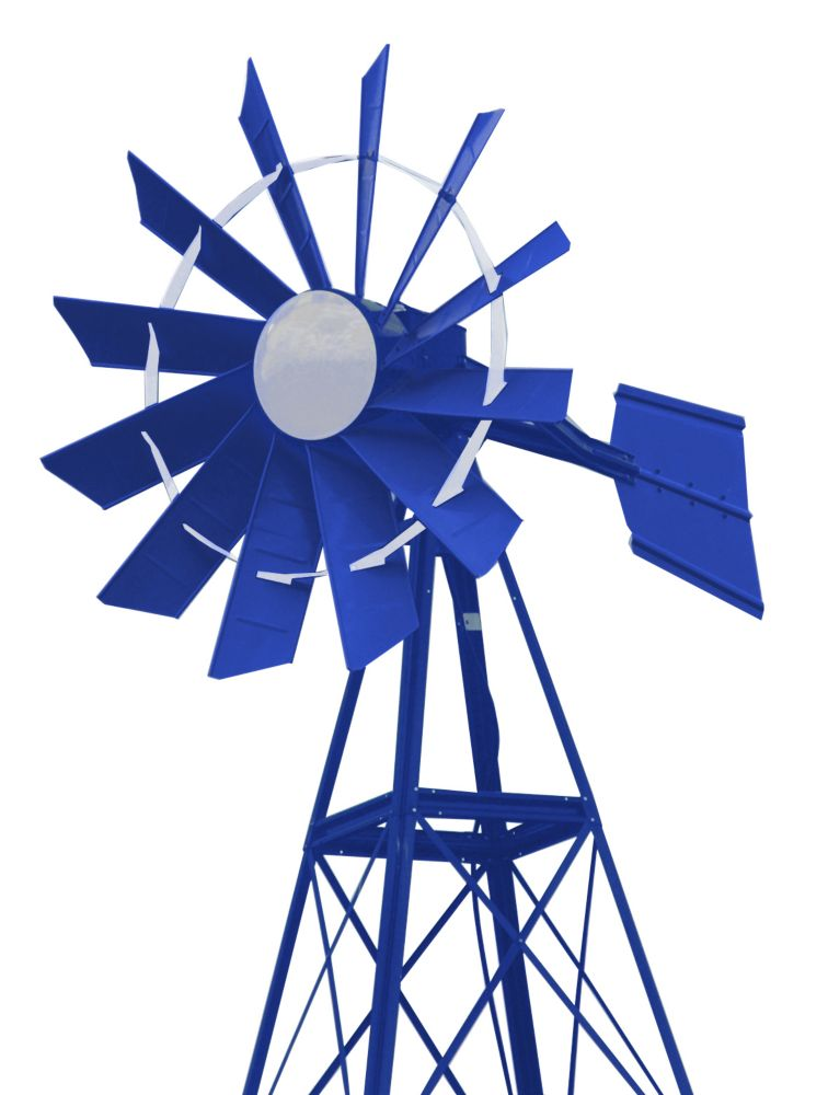 Blue & White Powder Coated Windmill - 20 Foot