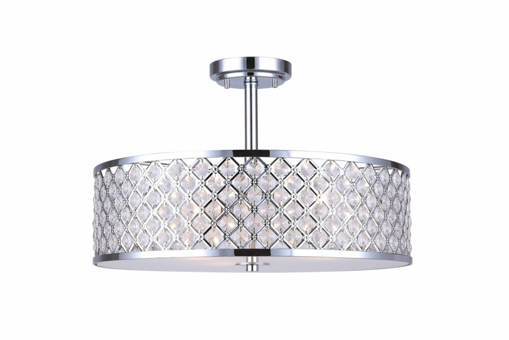 Hampton Bay 13-3/4 In. Semi Flush Mount, Polished Chrome