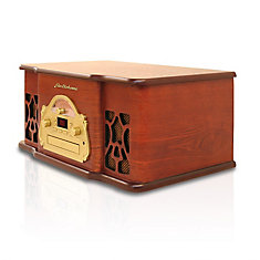 Retro Turntable Real Wood Stereo System with Record Player, CD & AM/FM Radio