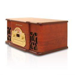 Electrohome Chaîne stéréo rétro en bois véritable avec tourne-disque, lecteur CD et radio AM/FM