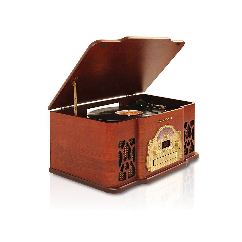 Chaîne stéréo rétro en bois véritable avec tourne-disque, enregistrement USB, lecteur CD et AM/FM