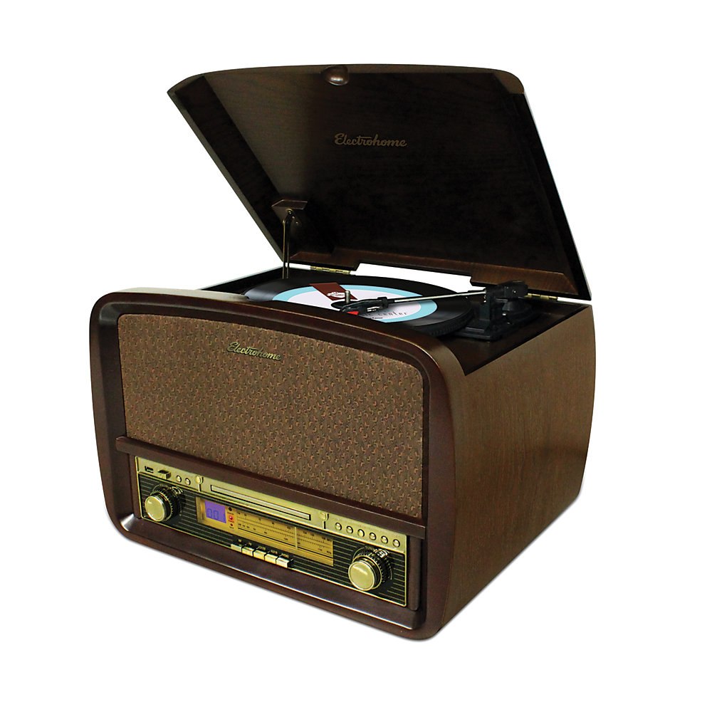 Chaîne stéréo hifi rétro Signature avec tourne-disque, CD, MP3, AM/FM et disques vinyle au MP3