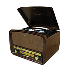 Signature Retro Hi-Fi Stereo System with Record Player, CD, MP3, AM/FM, Vinyl-to-MP3