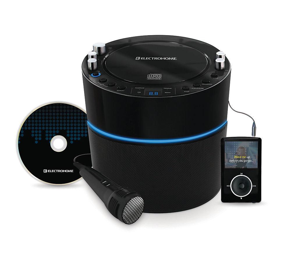 EAKAR300 Lecteur karaoké avec système de haut-parleurs, entrée MP3 et 2 entrées pour microphones