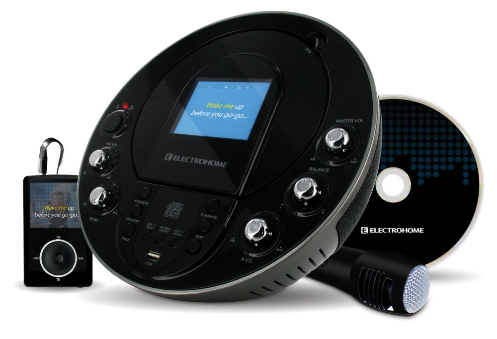 "Electrohome Portable Karaoke CD+G/MP3G Player Speaker System with 3.5"" Screen, USB and MP3 Input"